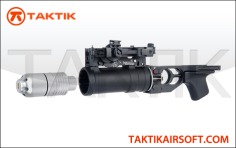 Lancer Tactical GP30 Grenade Launcher and Grenade Metal Black
