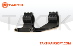 Taktikal 1 inch dual ring scope mount with rails metal black